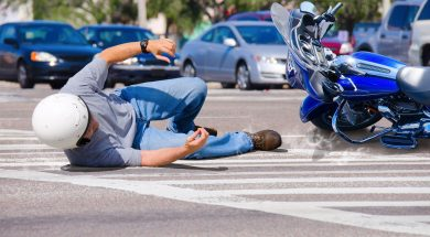 Motorcycle Wreck in Busy Intersection