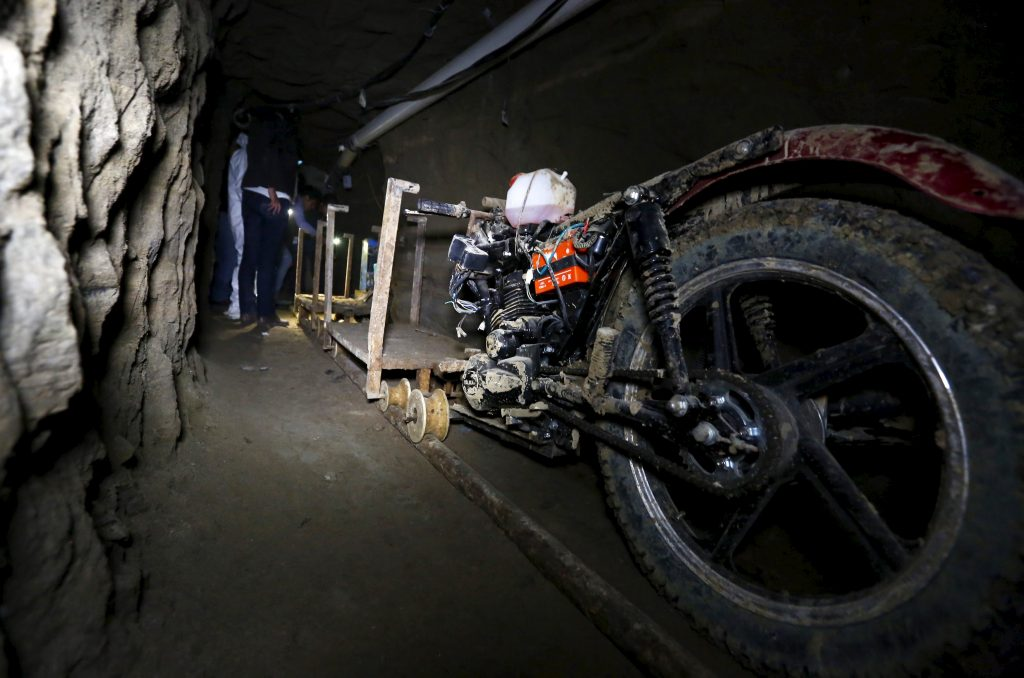 A motorcycle modified to run on rails is seen inside a tunnel connected to the Altiplano Federal Penitentiary and used by drug lord Joaquin 'El Chapo' Guzman to escape, in Almoloya de Juarez, on the outskirts of Mexico City, July 15, 2015. U.S. law enforcement officials met with agents of the Mexican attorney general's office this week to share information related to the escape from prison of Guzman and coordinate efforts to apprehend him, a Mexican government official said on Wednesday.  REUTERS/Edgard Garrido